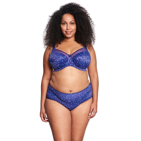 Kayla Banded Side Support Purple Cascade Bra