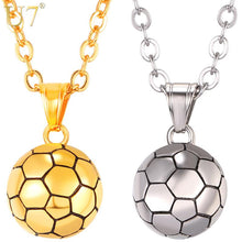Load image into Gallery viewer, U7 Stainless Steel Football Pattern Pendant & Link Chain Necklace For Men/Women Sport Boy Soccer Fan Hip Hop Jewelry P1095
