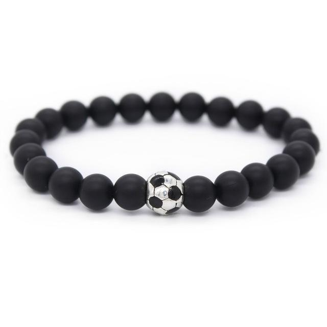 Stylish Soccer/Football Charm Bracelet With Natural Stone Beads