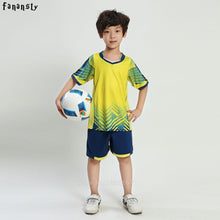 Load image into Gallery viewer, Football jersey set  New Kids Soccer Training Suits Sports Sets Football Kits Boys Custom Jerseys Children Uniforms Sportswear