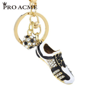 Pro Acme Creativ Sports Football Soccer Shoes Rhinestone Keychains for Men Women Bag Pendant Keyrings Car Key Chain Gift PWK0866