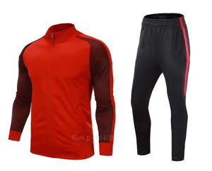 High quality tracksuit football 2017 men soccer training jacket suits adult customize uniforms kits winter sportswear set new