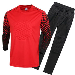 New Premium Kids Soccer Goalkeeper Kit Complete With Long Sleeve Padded Jersey And Long Pants To Match
