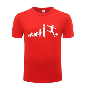 Evolution To A Footballer Printed Cotton T Shirt Short Sleeve