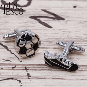 Football and shoes Cufflinks Wholesale&retail Black  Copper Material Novelty Sport Design Business Suit Accessaries Men Gift