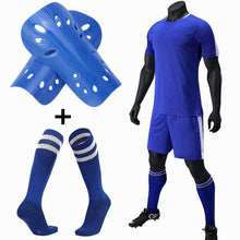 Load image into Gallery viewer, Mens Kids Soccer Jerseys Set Football kit Training Suits Soccer Uniform for Teens team game Sports Suit with socks+Shin guards