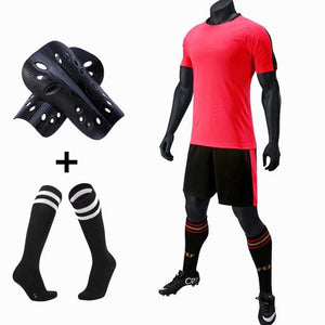 Mens Kids Soccer Jerseys Set Football kit Training Suits Soccer Uniform for Teens team game Sports Suit with socks+Shin guards