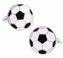 Load image into Gallery viewer, Mens Soccer Ball Brass Stylish Cuff Links - FREE SHIPPING!