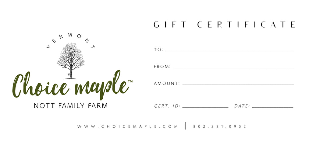 Maple Syrup Gift Certificate