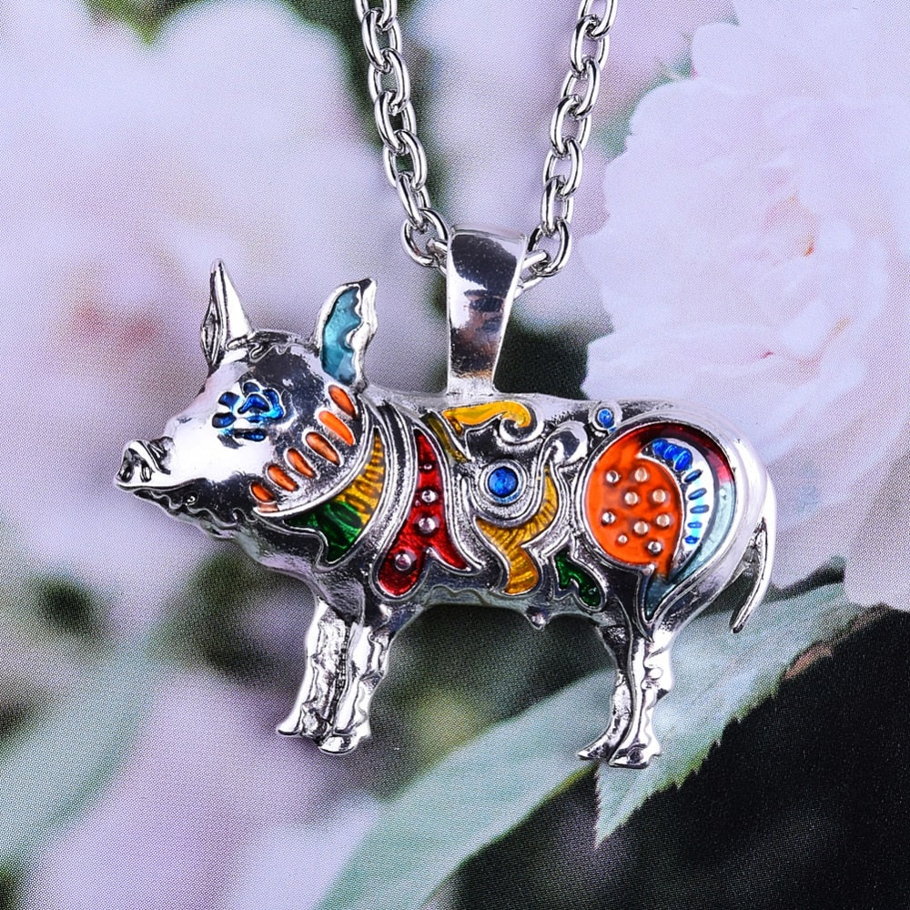 Enamel Pig Necklace
