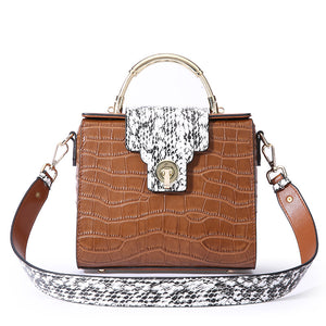 Amethyst AA59 Luxury Crocodile Grain Leather Shoulder bag(two straps)/Tote-Multiple colors