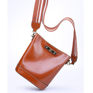 Amethyst AB43 Oil wax cowhide bucket bag separate design Shoulder bag(two straps)/Tote - Multiple colors