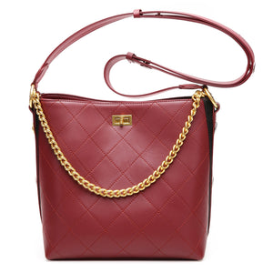 Amethyst AB069 Color clash crystal buckle Leather Shoulder bag/Tote-Multiple colors
