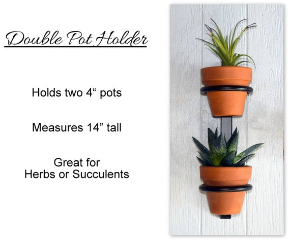 "🔎Hanging planter, indoor herb garden, Hanging herb garden, fixer upper inspired herb garden, Double plant holder holds two 4"" pots"
