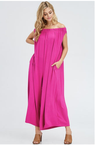 Magenta Off Shoulder Jumpsuit (AS seen on NBC Today Show)