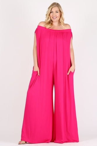 VIRAL Hot Pink Off The Shoulder Jumper! (ONLY PLUS SIZE AVAILABLE)