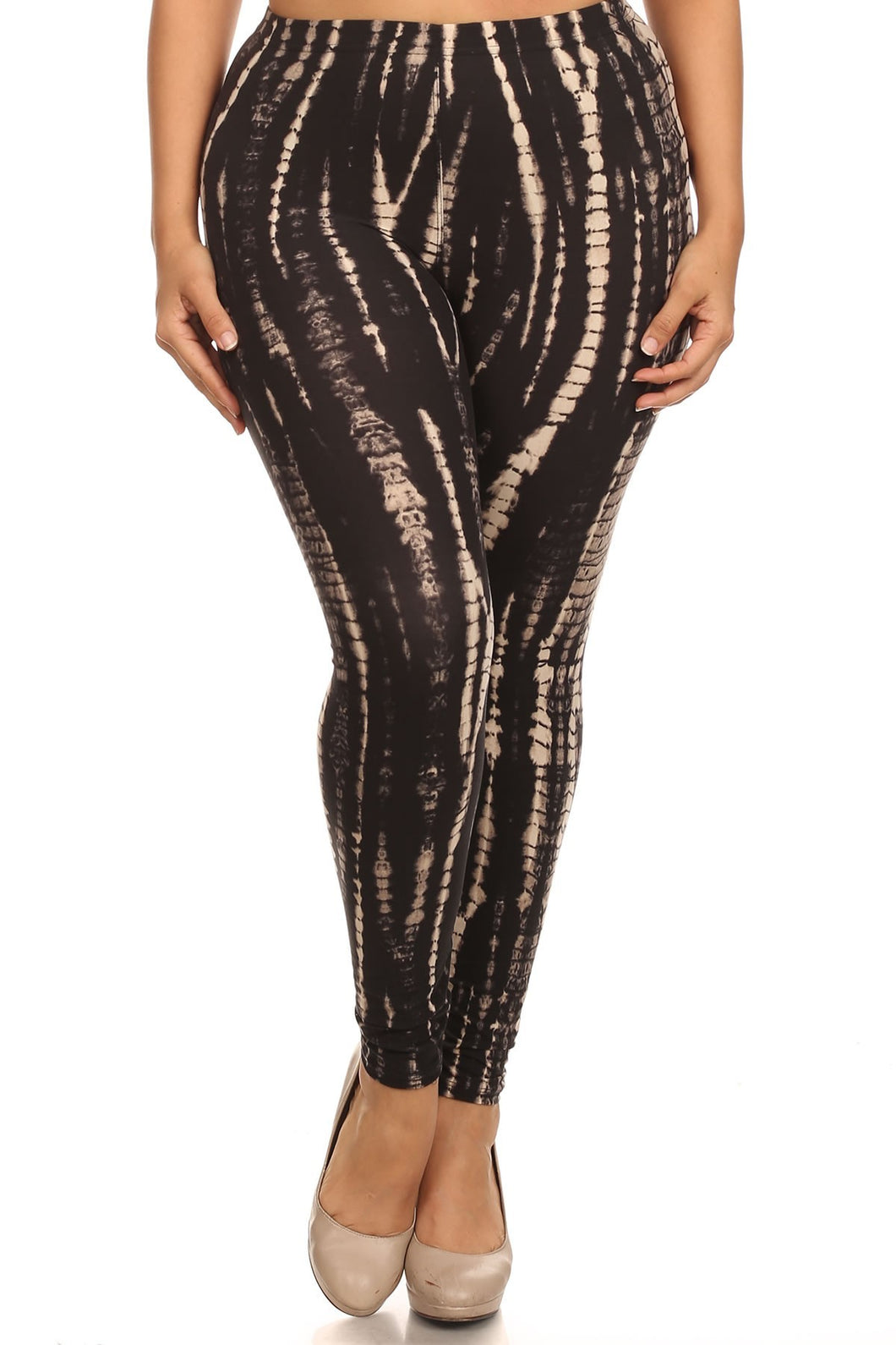Plus Size Black & Tan tie dye Cropped Leggings With Banded High Waist