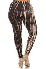 Load image into Gallery viewer, Plus Size Black & Tan tie dye Cropped Leggings With Banded High Waist
