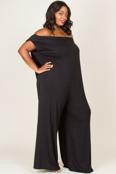 Solid Off Shoulder Pocket Jumpsuit Black