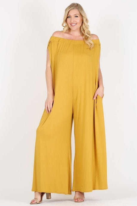 Off Shoulder Pocket Jumpsuit (PLUS)