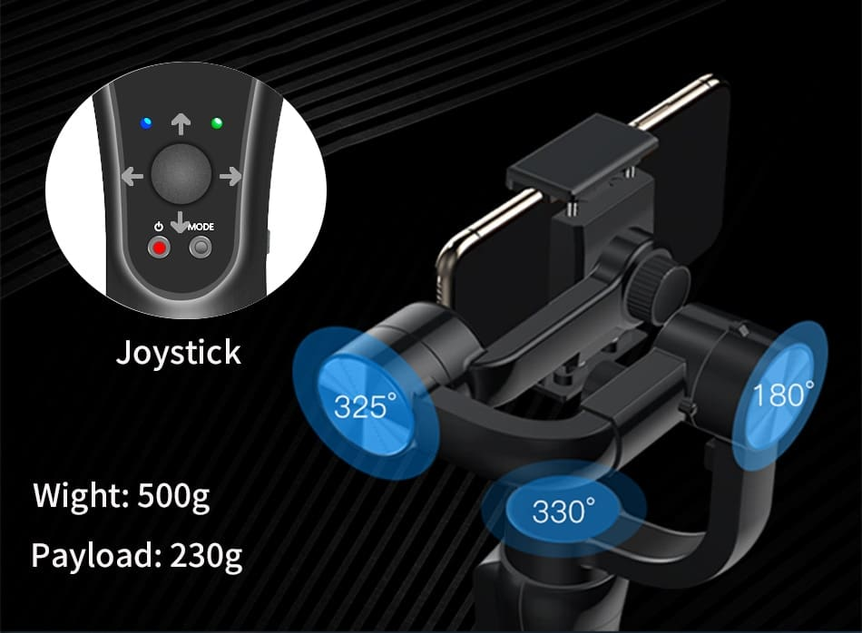 KEELEAD 3-Axis Handheld Gimbal Stabilizer w/Focus Pull & Zoom for iPhone Xs Max Xr X 8 Plus 7 6 SE Samsung Action Camera