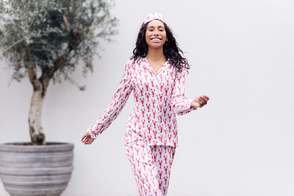long winter bamboo sleepwear - lobster print