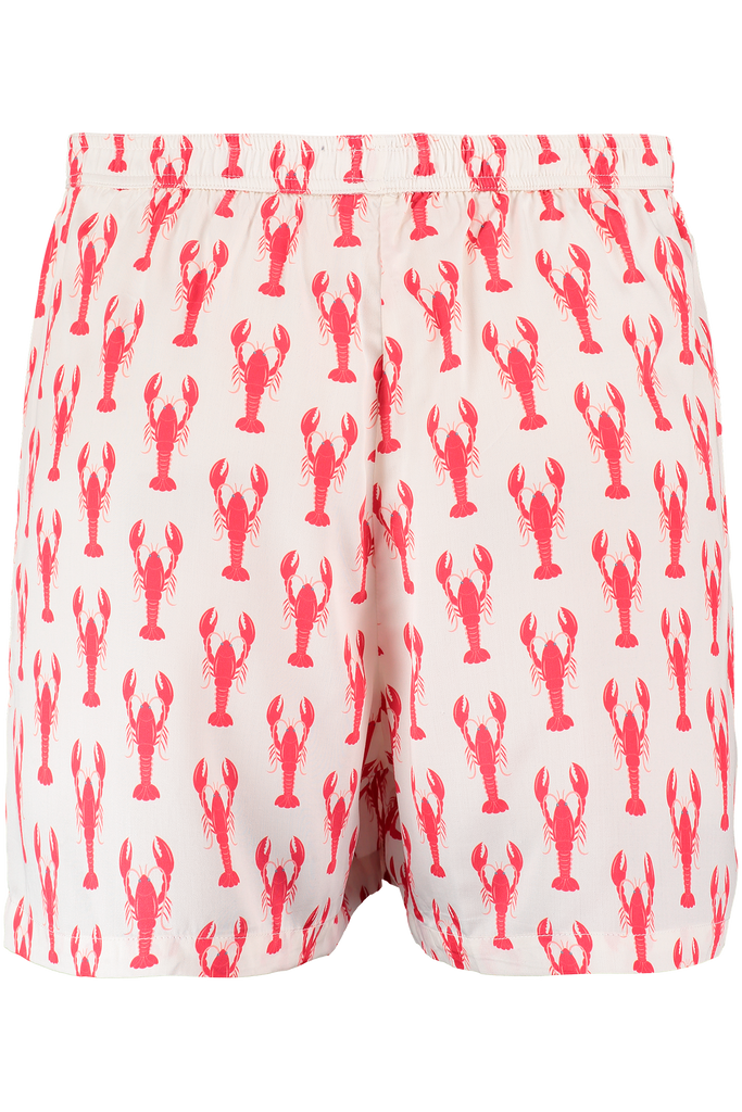 Lobster print male bamboo boxer shorts