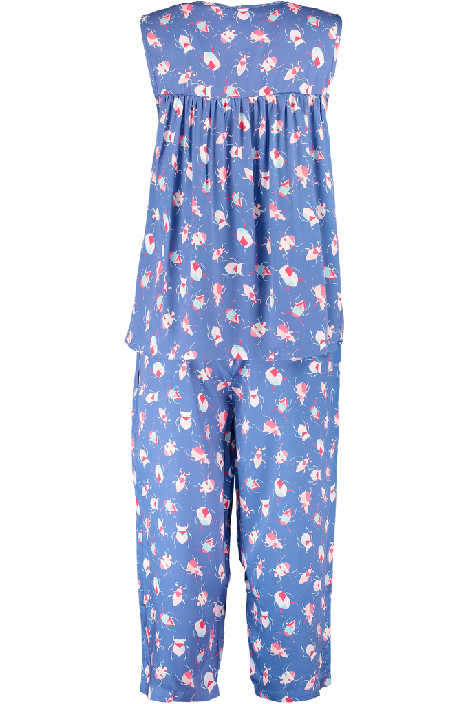 Colourful midi sleepwear set printed bamboo pyjamas