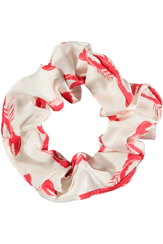 Healthy hair Lobster print scrunchie made of organic bamboo