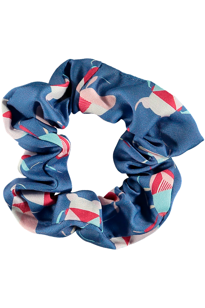 Hair scrunchie sleep accessory blue printed