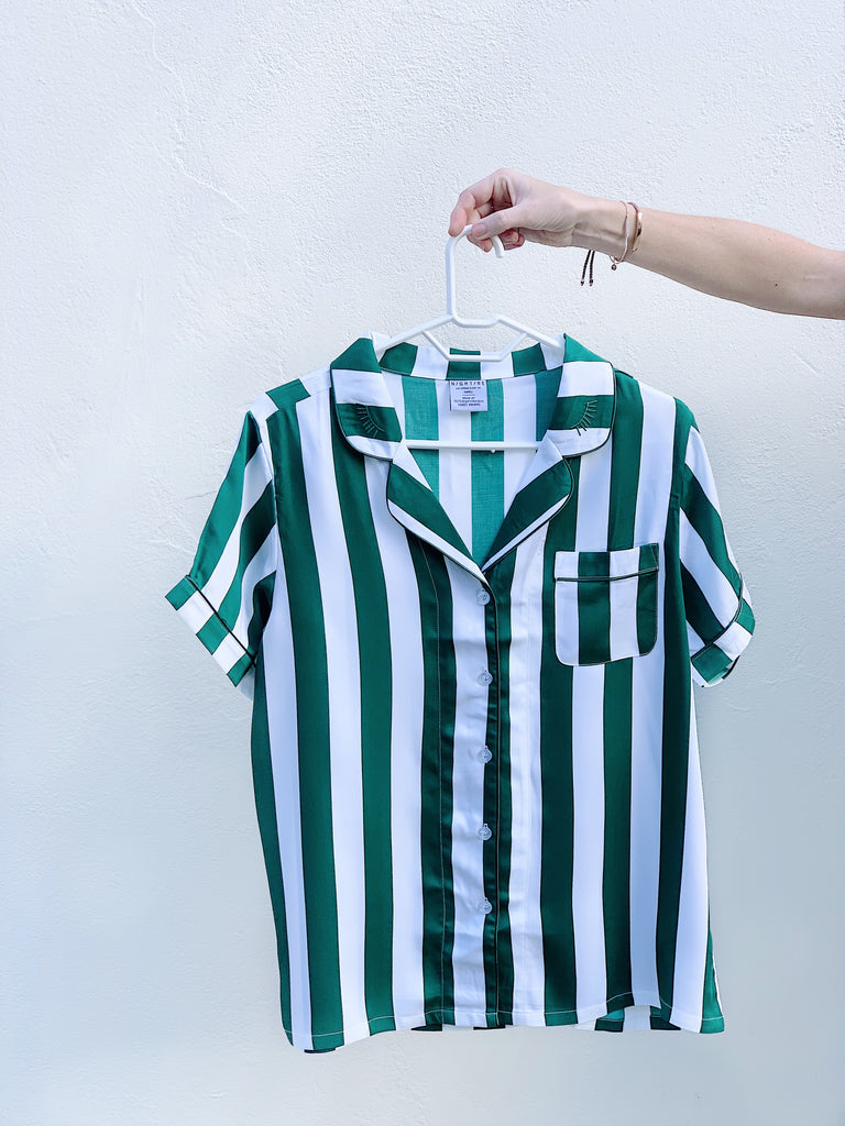 Green Stripe Bamboo PJs