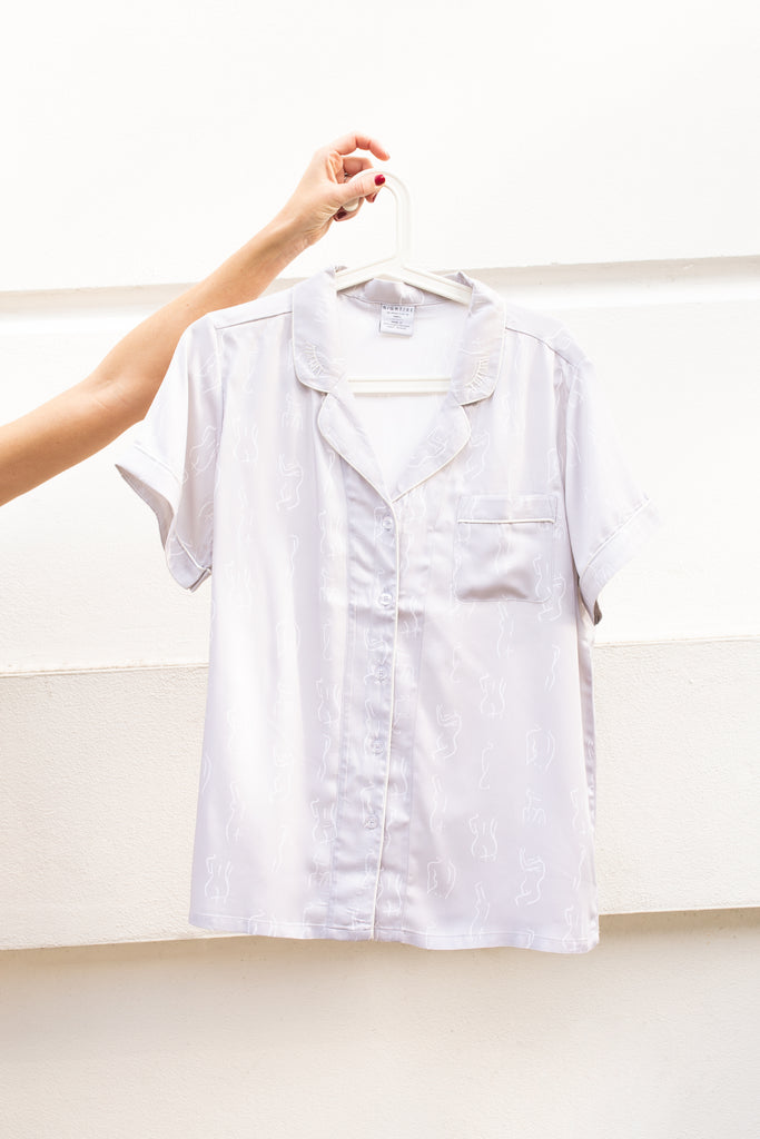 Short grey summer sleepwear top