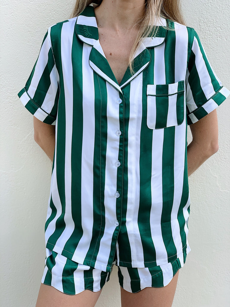 Short Green Stripe Bamboo Pyjamas