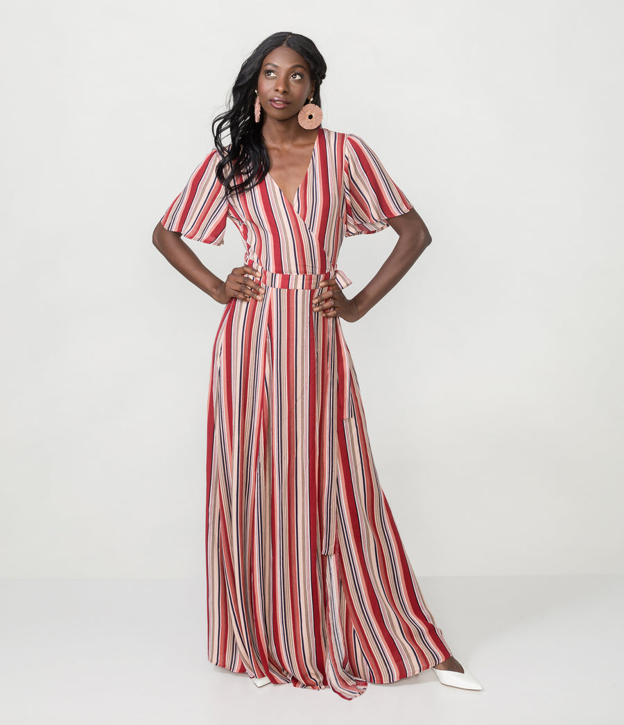 STRIPED TIE WRAP MAXI DRESS
