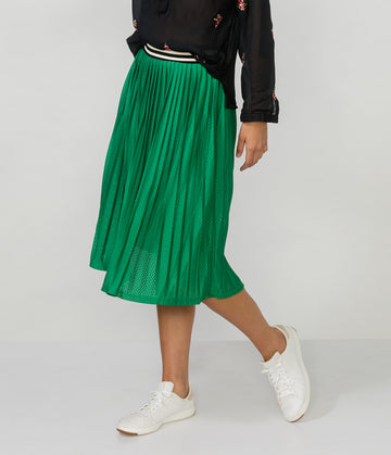 TRIPLE THREAT MESH MIDI SKIRT
