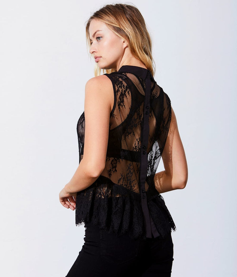 Button Down Back Lace Top