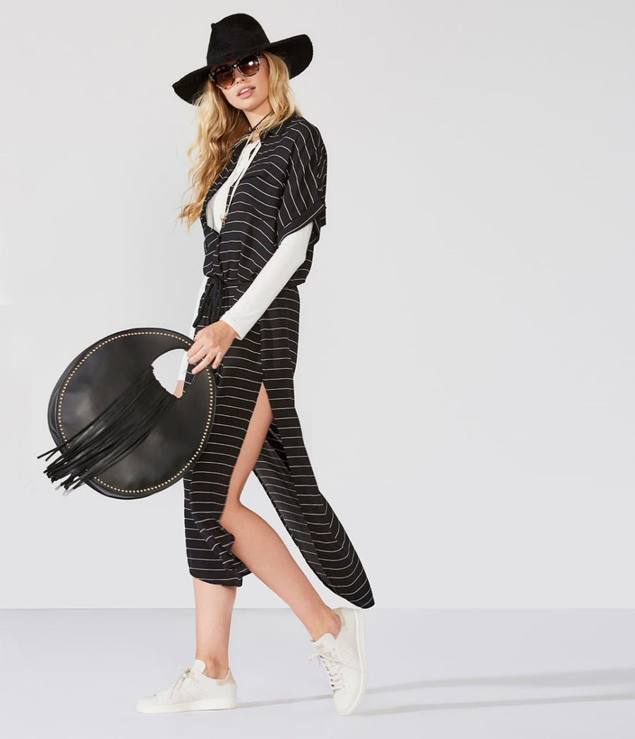 Long Stripe Dress W/Slit And Belt