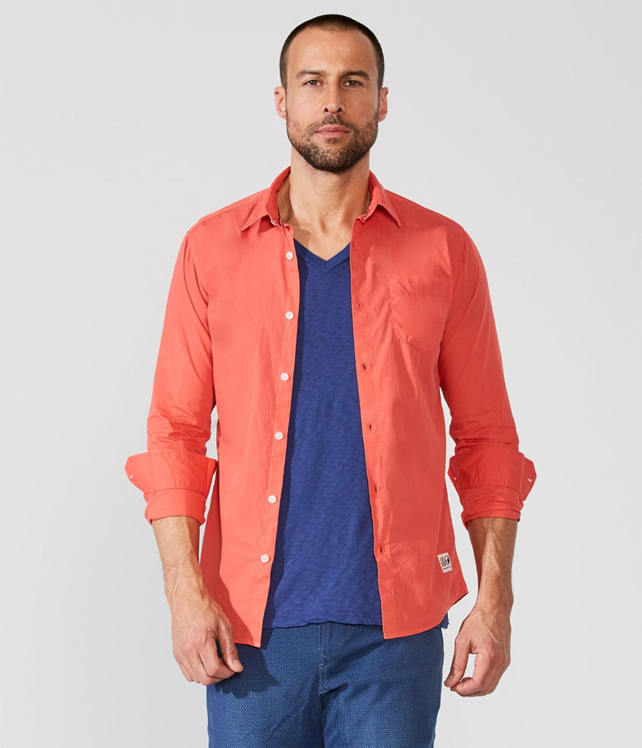 Coral Sporty Button Up