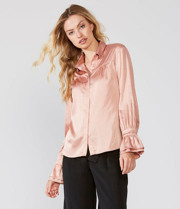 Satin Button Down Ruffle Cuff Shirt