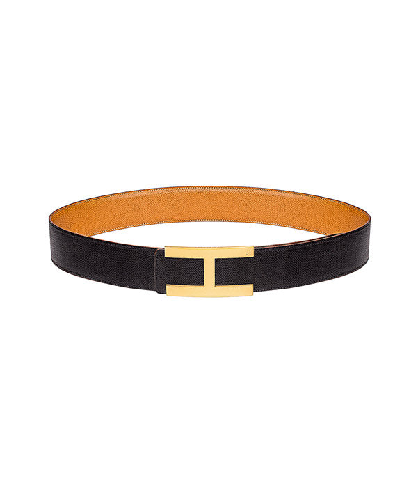 Martellato leather belt in reversible black-caramel with gold buckle