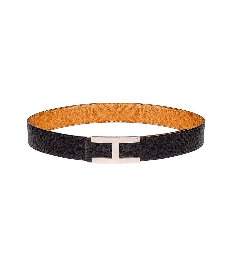 Martellato leather belt in reversible black-caramel with silver buckle