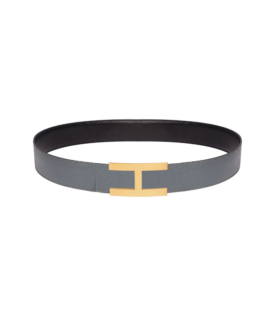 Saffiano leather belt in reversible black-grey with gold buckle