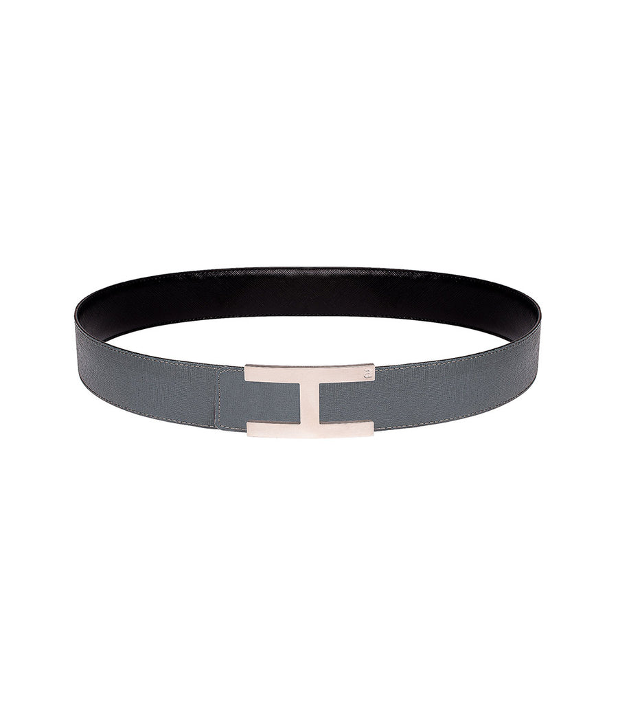 Saffiano leather belt in reversible black-grey with silver buckle