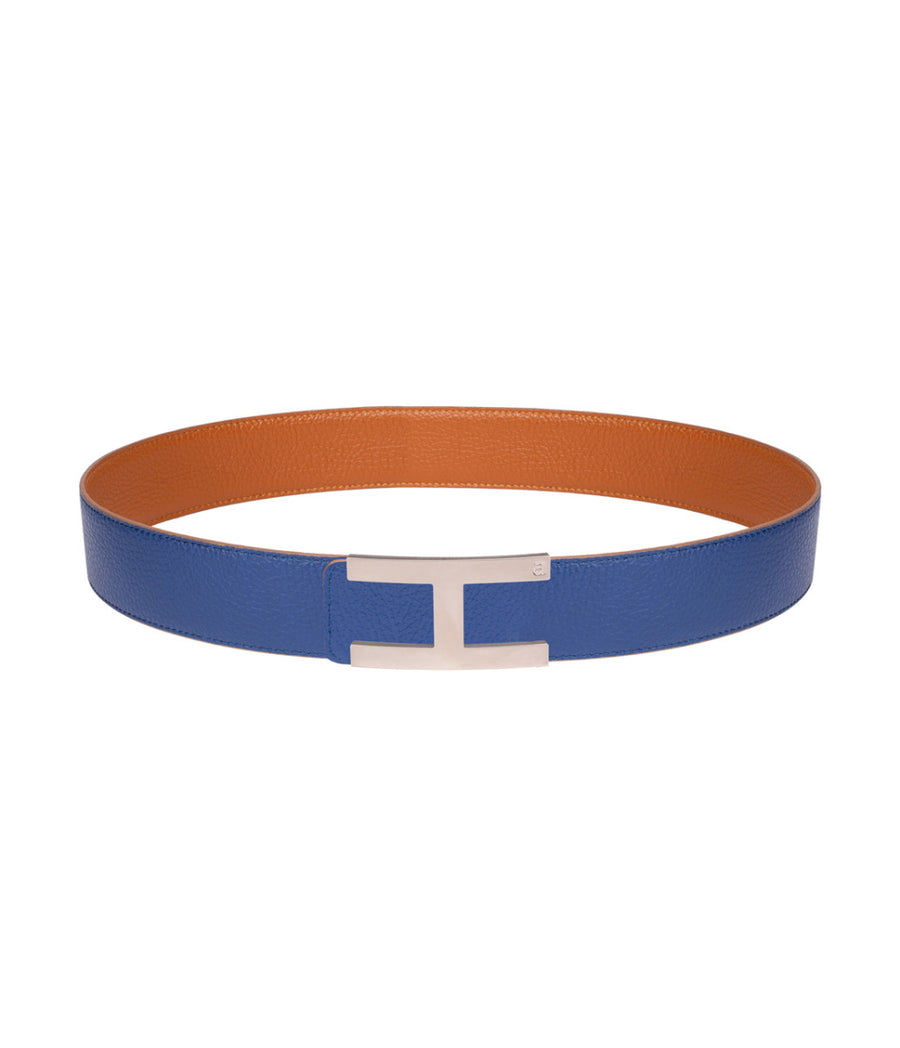 Calfskin leather belt in reversible caramel-blue with silver buckle