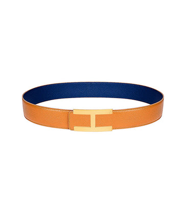 Calfskin leather belt in reversible caramel-blue with gold buckle