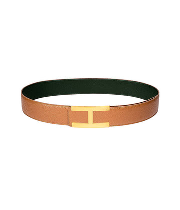 Calfskin leather belt in reversible caramel-green with gold buckle