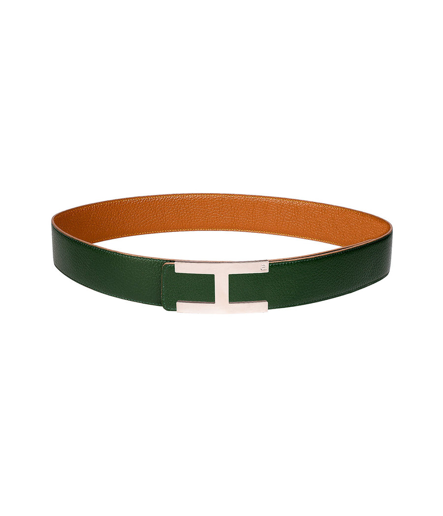 Calfskin leather belt in reversible caramel-green with silver buckle