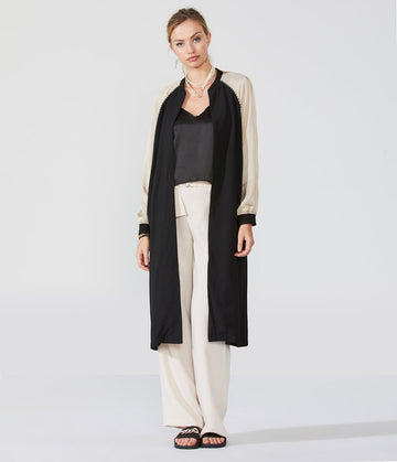 Color Block Bomber Trench Coat