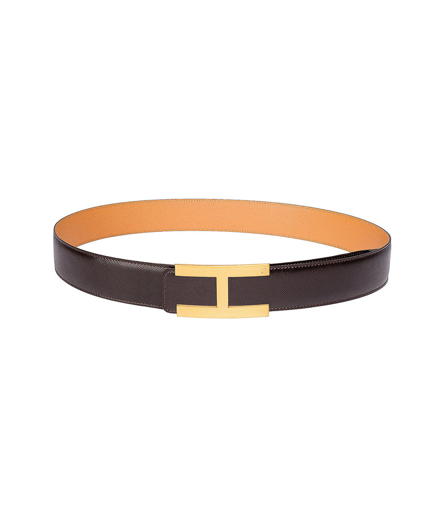 Saffiano leather belt in reversible dark brown-caramel with gold buckle