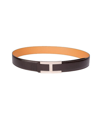 Saffiano leather belt in reversible dark brown-caramel with silver buckle